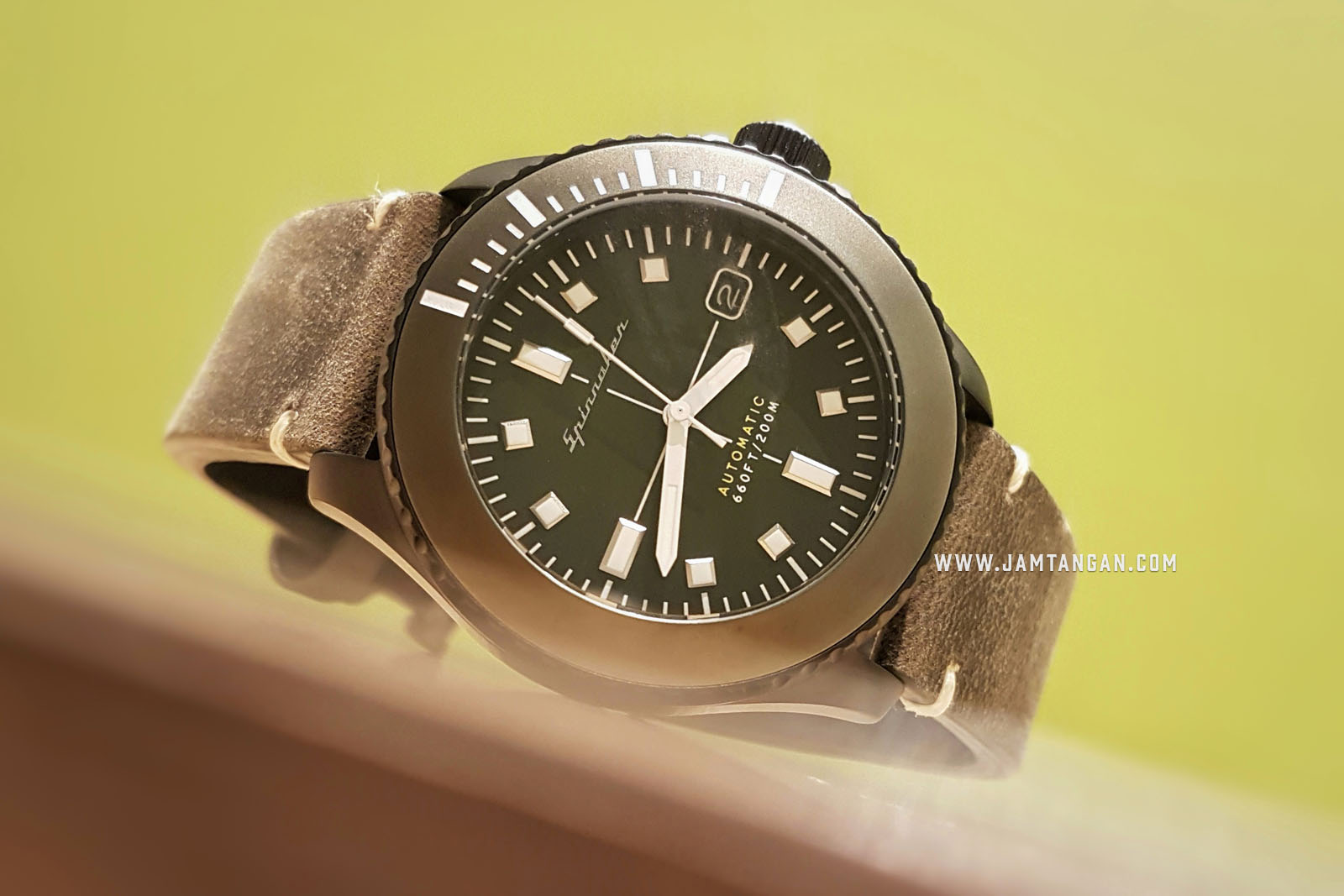 Spinnaker SP-5063-03 Vintage Spence Men Green Dial Green Leather Strap Machtwatch