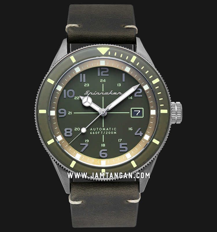 Spinnaker SP-5064-02 Vintage Cahill Men Green Dial Green Leather Strap Machtwatch