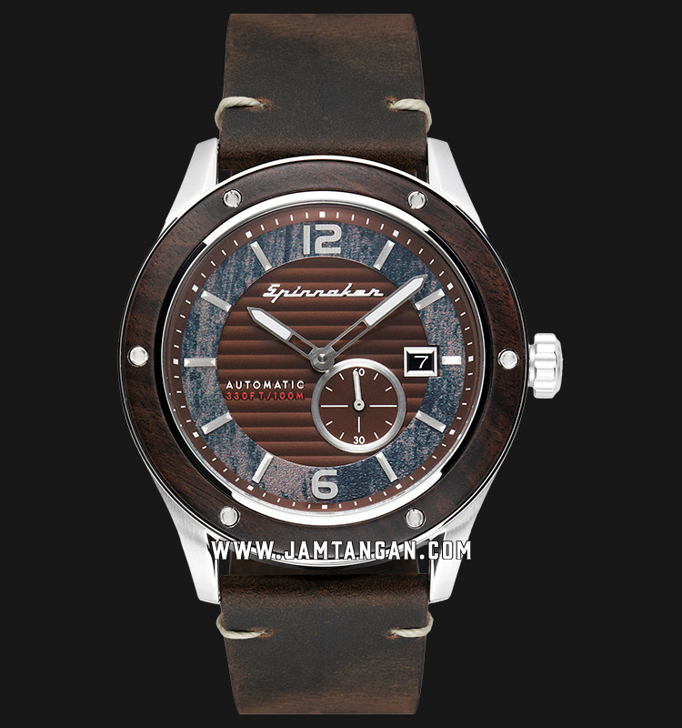 Spinnaker SP-5067-01 Wood Sorrento Men Brown Dial Brown Leather Strap Machtwatch