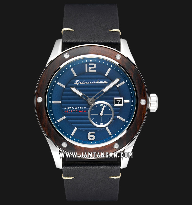 Spinnaker SP-5067-02 Wood Sorrento Men Blue Dial Black Leather Strap Machtwatch