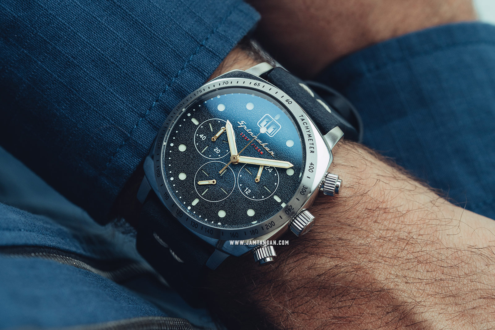 Spinnaker Hull SP-5068-03 Chronograph Men Blue Dial Blue Leather Strap Machtwatch