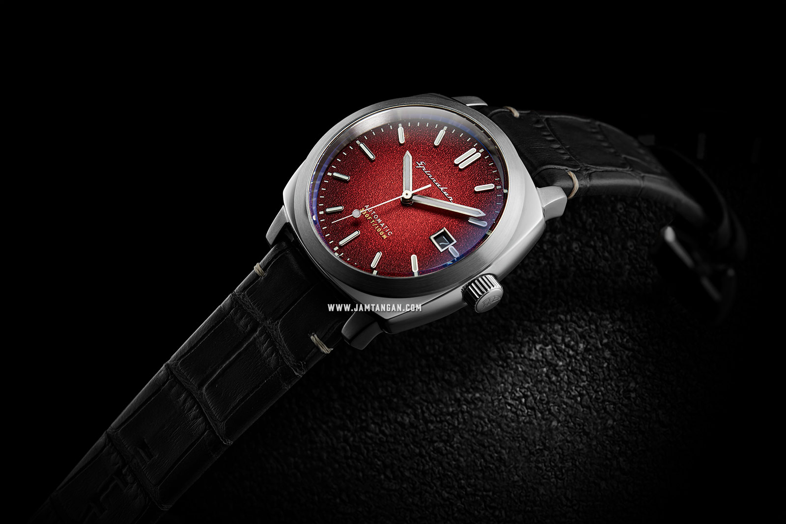 Spinnaker Hull Riviera SP-5072-01 Men Red Dial Black Leather Strap Machtwatch