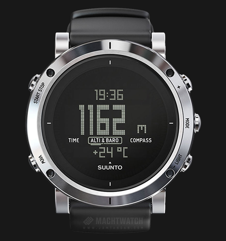 Suunto SS020339000 Core Brushed Steel Digital Dial Black Rubber Strap Machtwatch