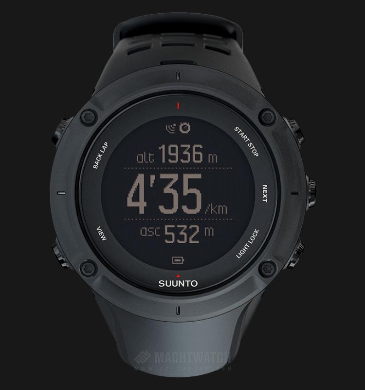 Suunto SS020677000 Ambit3 Peak Black Digital Dial Black Rubber Strap Machtwatch