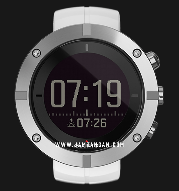 Suunto SS021240000 Kailash Slate Alarm World Time Digital Dial White Rubber Strap Machtwatch