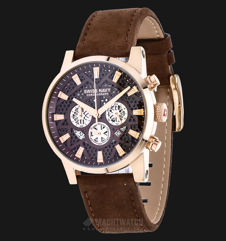 SWISS NAVY 8310MRGBN Man Chronograph Skeleton Dial Brown Leather Strap Machtwatch