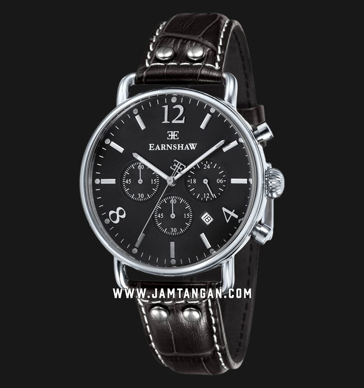Thomas Earnshaw ES-8001-08 Investigator Chronograph Black Dial Brown Leather Strap Machtwatch