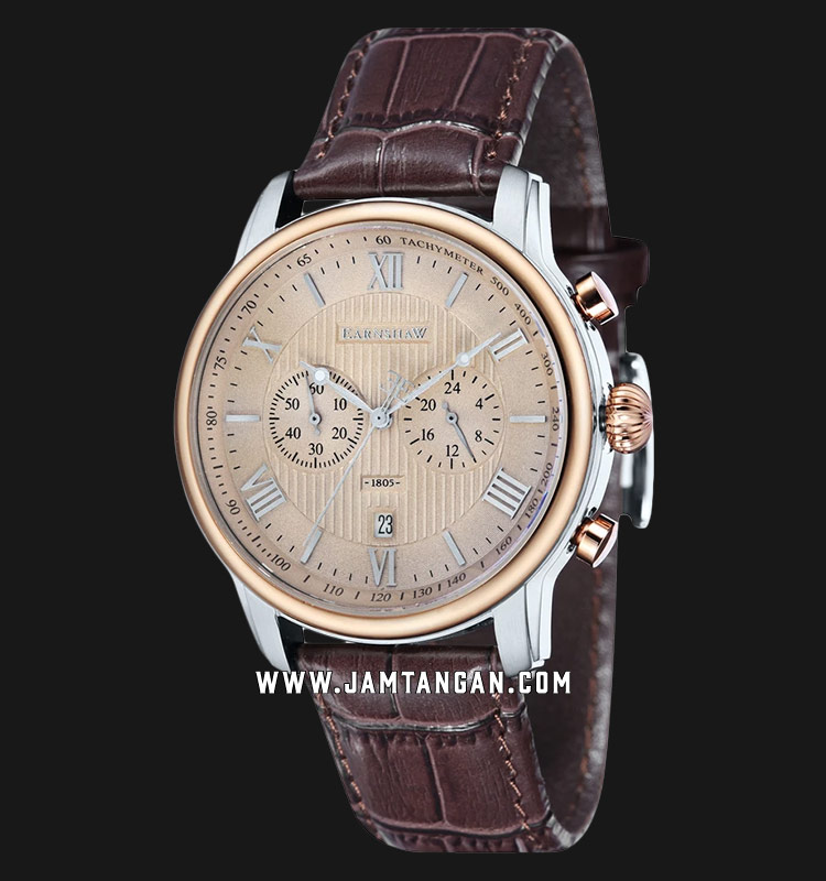 Thomas Earnshaw Longitude ES-8058-05 Chronograph Men Beige Dial Brown Leather Strap Machtwatch