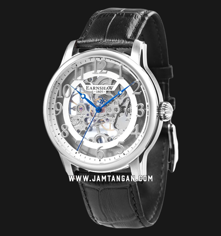 Thomas Earnshaw ES-8062-04 Longitude Skeleton Dial Black Leather Strap Machtwatch