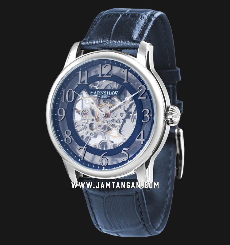 Thomas Earnshaw ES-8062-05 Longitude Skeleton Dial Blue Leather Strap Machtwatch
