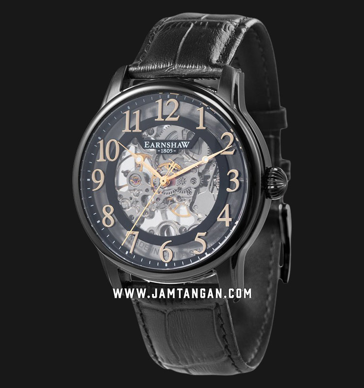 Thomas Earnshaw ES-8062-08 Longitude Skeleton Dial Black Leather Strap Machtwatch
