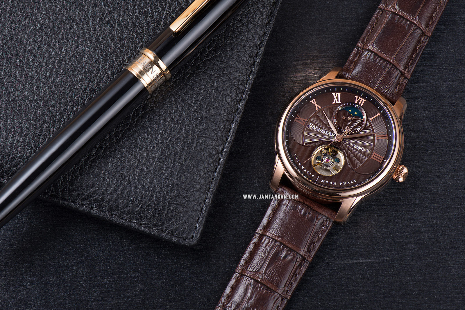 Thomas Earnshaw ES-8066-04 Longitude Moonphase Open Heart Dial Brown Leather Strap Machtwatch