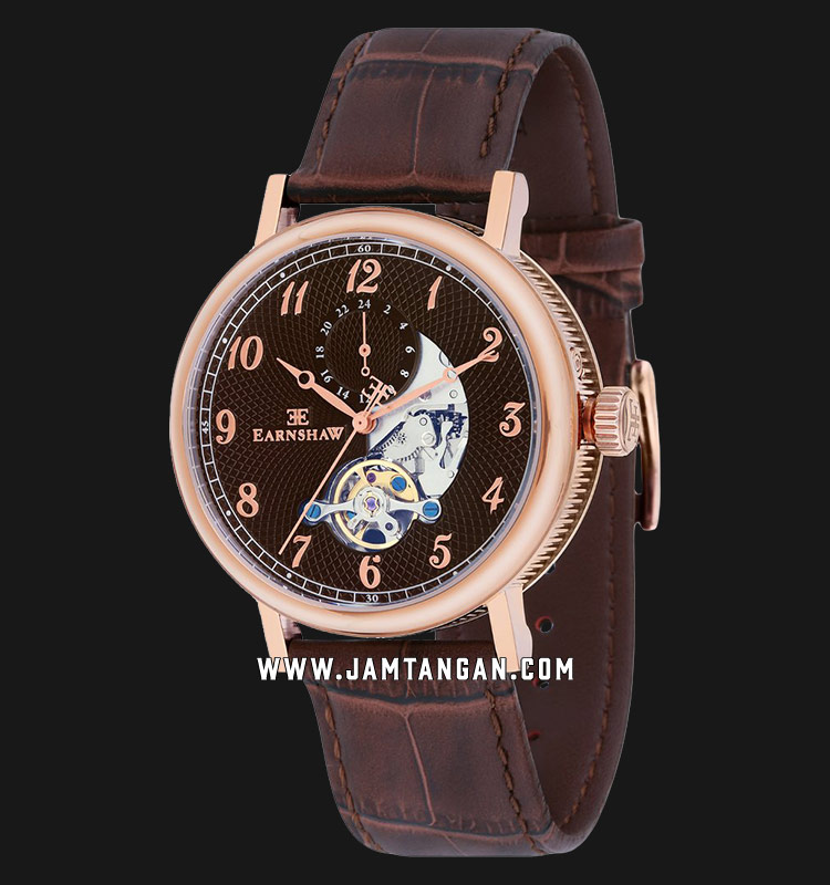 Thomas Earnshaw ES-8082-04 Beaufort Open Heart Dial Brown Leather Strap Machtwatch