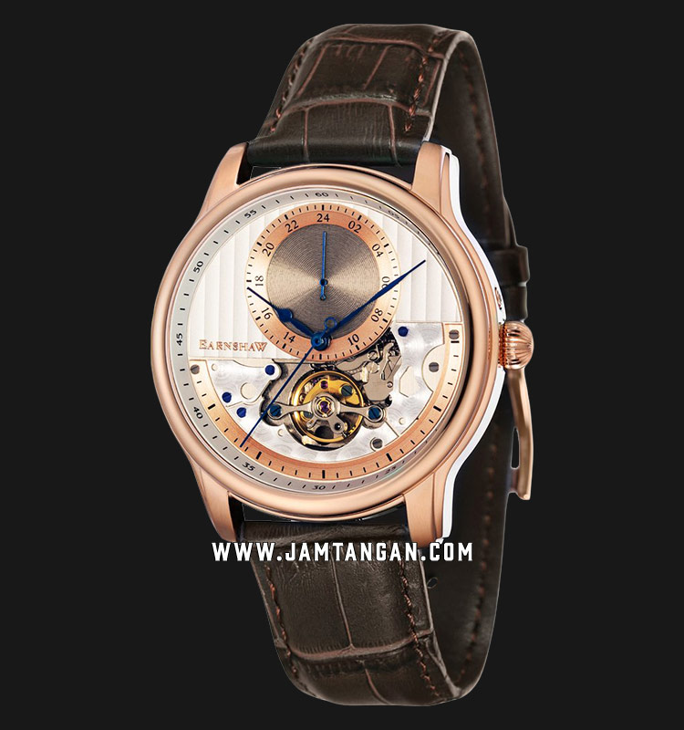 Thomas Earnshaw ES-8085-04 Longitude Automatic Open Heart Dial Brown Leather Strap Machtwatch