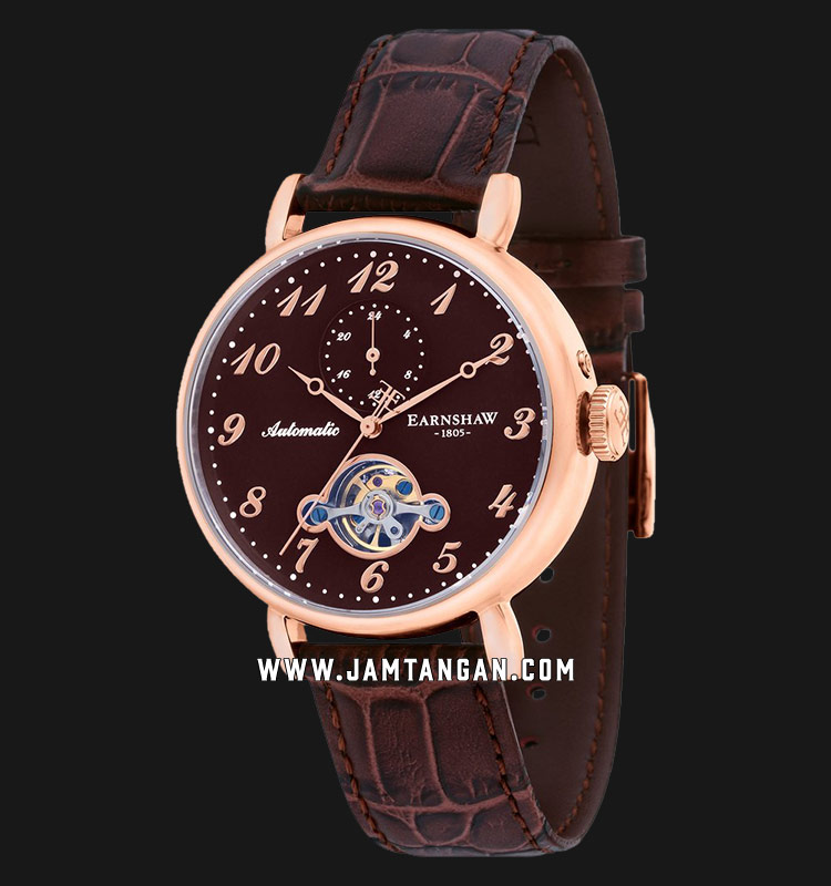 Thomas Earnshaw ES-8088-05 Grand Legacy Automatic Open Heart Dial Brown Leather Strap Machtwatch