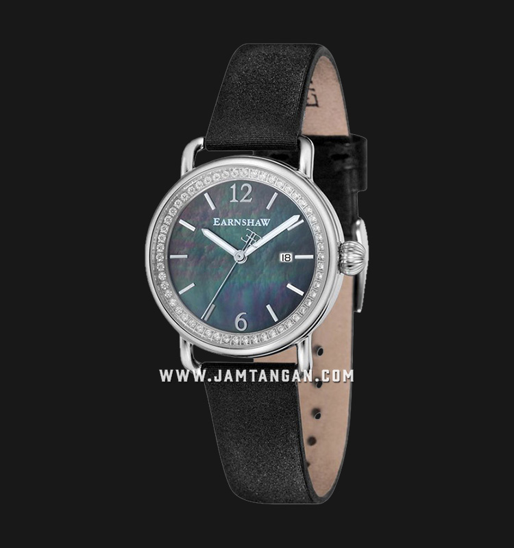 Thomas Earnshaw ES-8092-01 Investigator Mother Of Pearl Dial Black Leather Strap Machtwatch