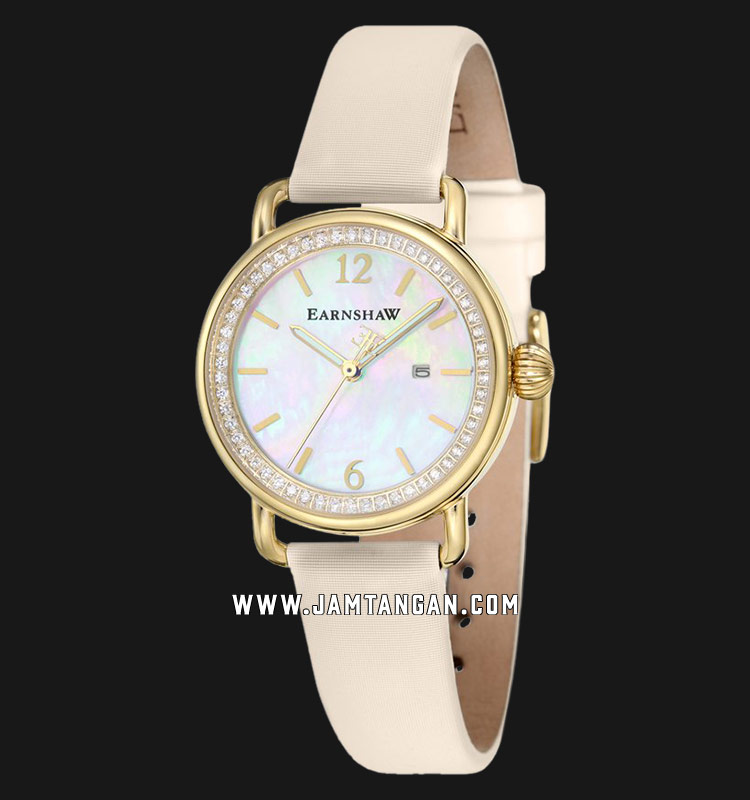 Thomas Earnshaw ES-8092-03 Investigator Mother Of Pearl Dial Beige Leather Strap Machtwatch