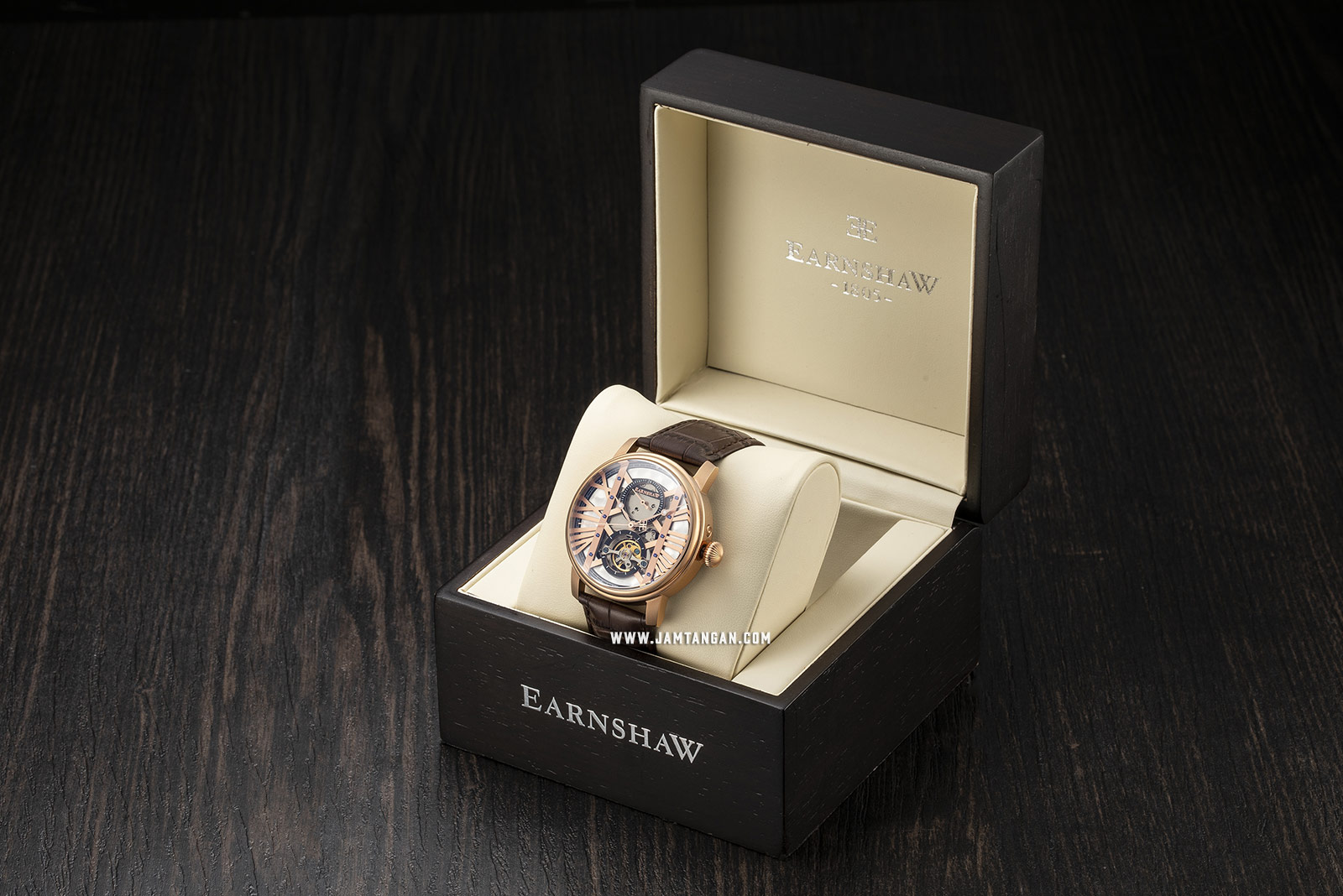 Thomas Earnshaw ES-8095-03 Westminster Automatic Open Heart Dial Brown Leather Strap Machtwatch