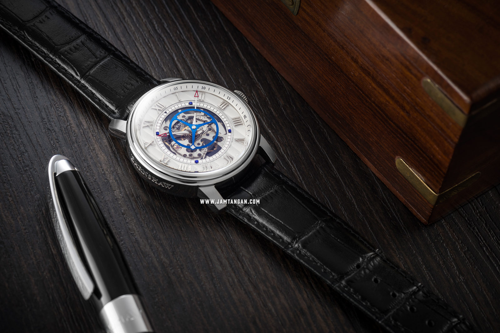 Thomas Earnshaw ES-8096-01 Westminster Skeleton Dial Black Leather Strap Machtwatch