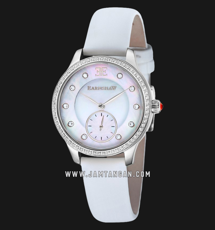 Thomas Earnshaw ES-8098-02 Lady Australis Mother of Pearl Dial White Leather Strap Machtwatch