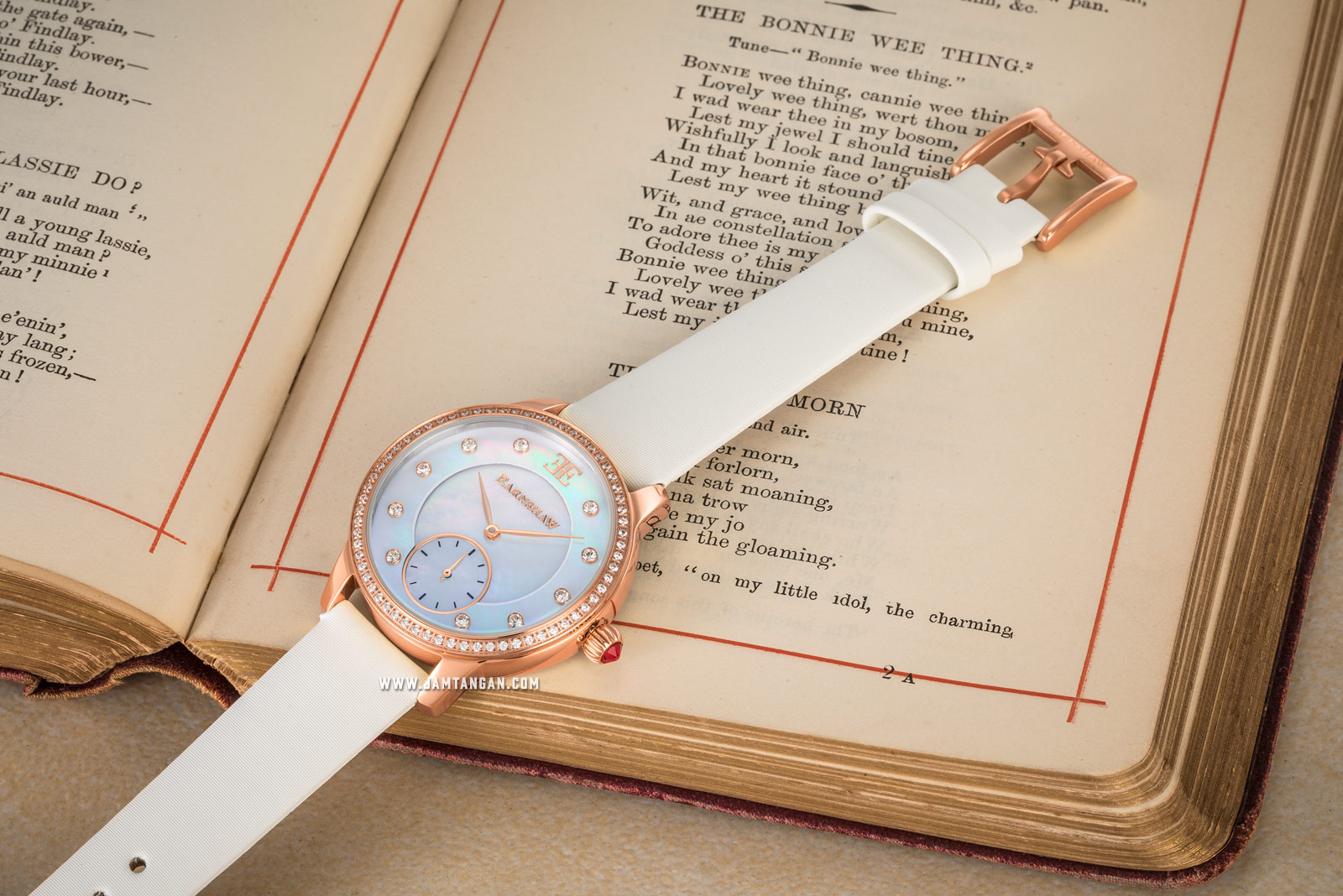Thomas Earnshaw Lady Australis ES-8098-04 Ladies Mother of Pearl White Dial White Leather Strap Machtwatch