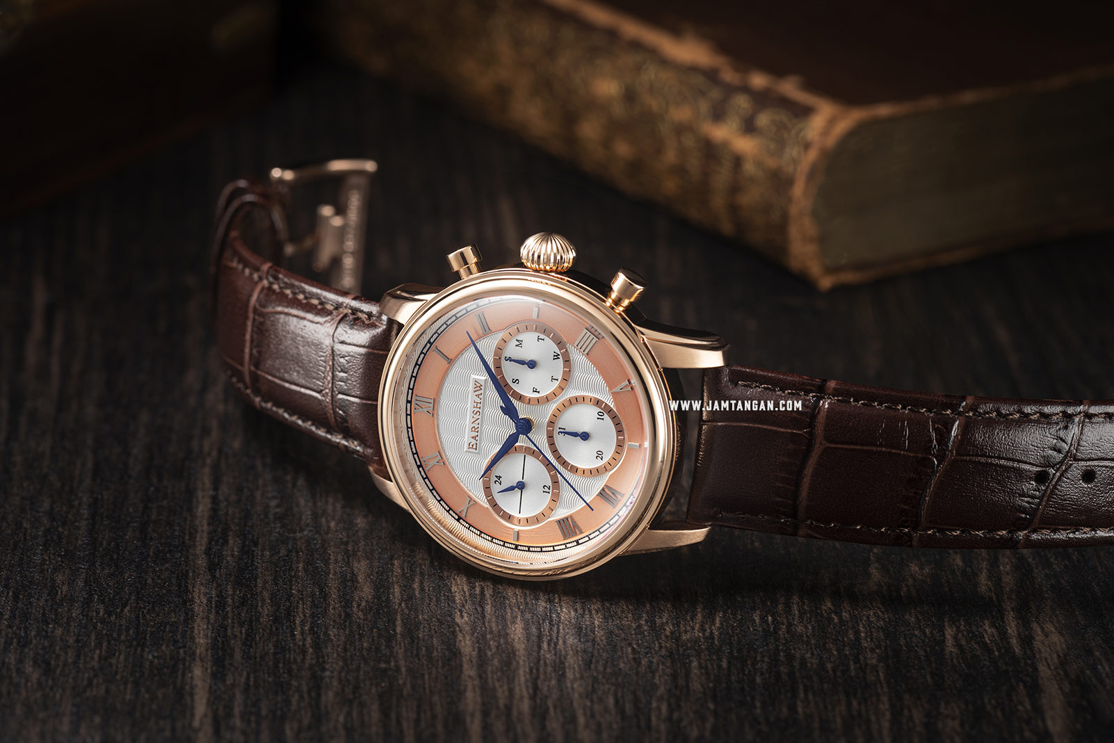 Thomas Earnshaw ES-8105-04 Longitude Multi-Function Chronograph White Dial Brown Leather Strap Machtwatch