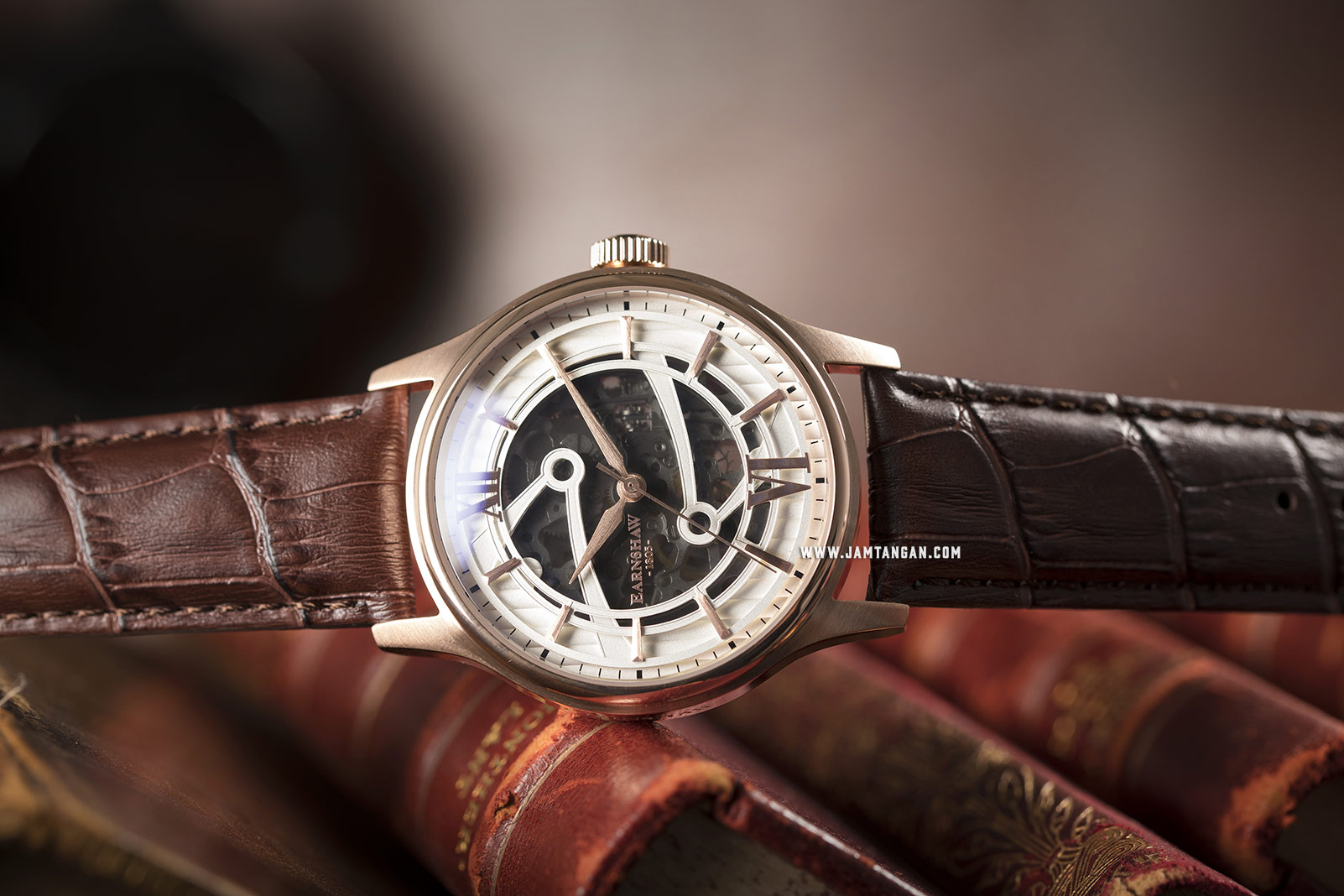 Thomas Earnshaw ES-8801-02 Bauer Skeleton Dial Brown Leather Strap Machtwatch