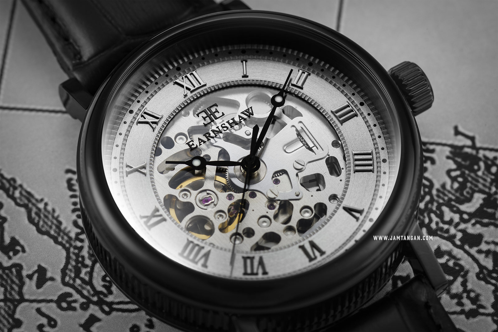 Thomas Earnshaw ES-8806-04 Beaufort Skeleton Dial Black Leather Strap Machtwatch