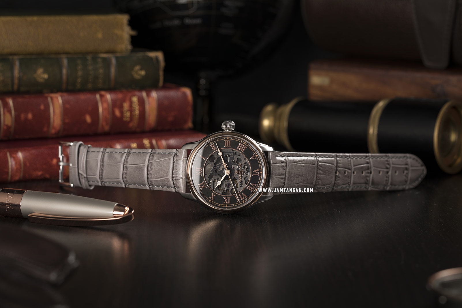 Thomas Earnshaw ES-8807-04 Longitude Skeleton Dial Grey Leather Strap Machtwatch