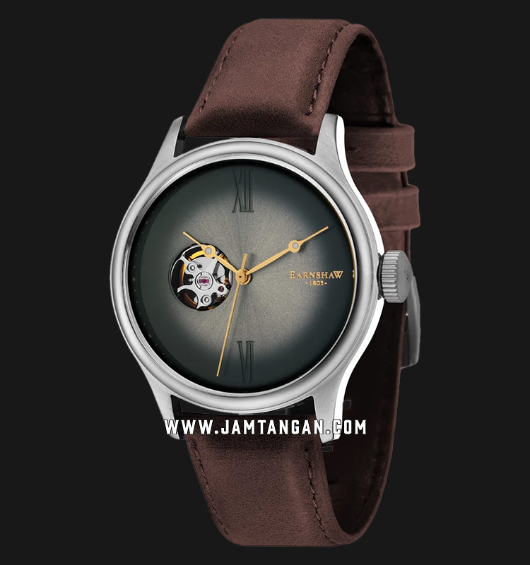 Thomas Earnshaw ES-8809-02 Bauer Fumee Open Heart Dial Brown Leather Strap Machtwatch
