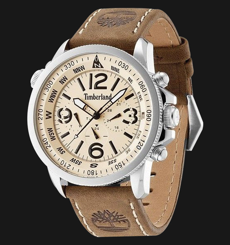 Timberland TBL.13910JS/07 Beige Dial Brown Leather Strap Machtwatch