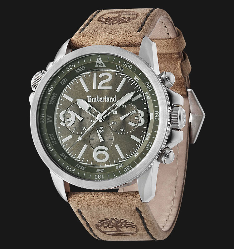 Timberland TBL.13910JS/19 Green Dial Brown Leather Strap Machtwatch