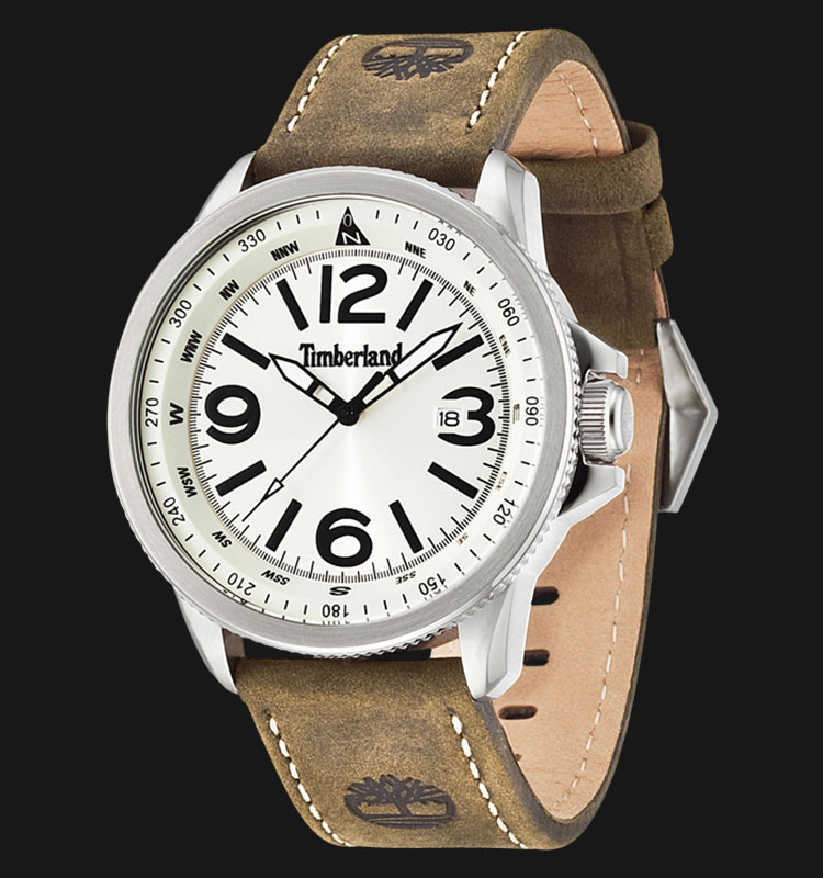 Timberland TBL.14247JS/07 Silver Beige Dial Brown Leather Strap Machtwatch
