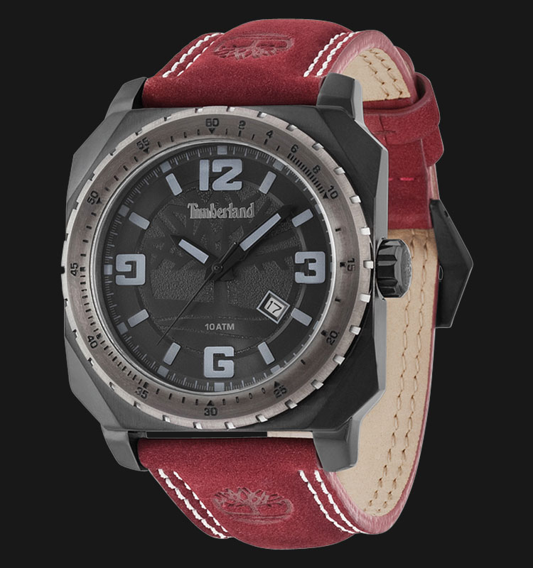 Timberland TBL.14321JSBU/02 Black Dial Red Leather Strap Machtwatch