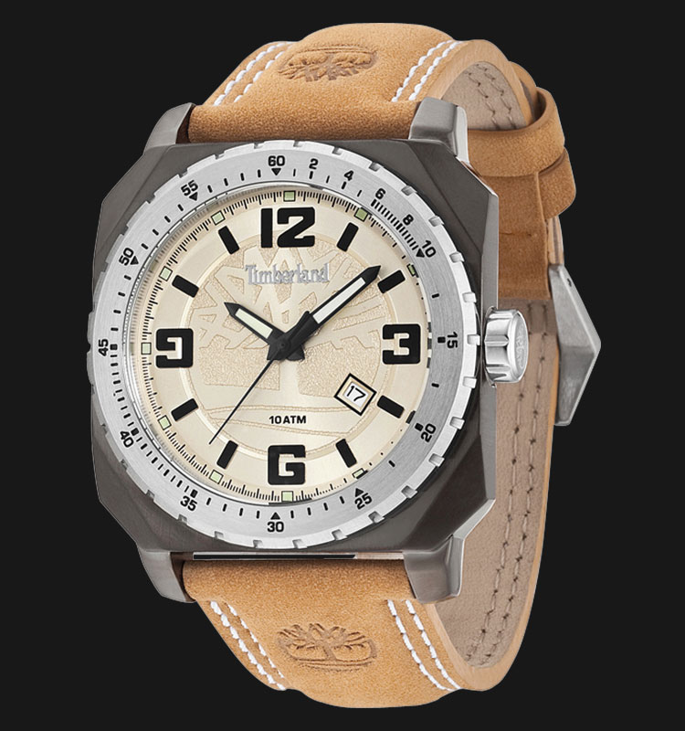 Timberland TBL.14321JSUS/07 Beige Dial Brown Leather Strap Machtwatch
