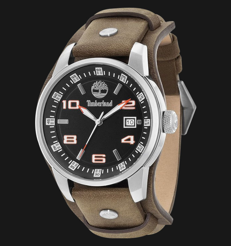 Timberland TBL.14337JS/02 Black Dial Brown Leather Strap Machtwatch