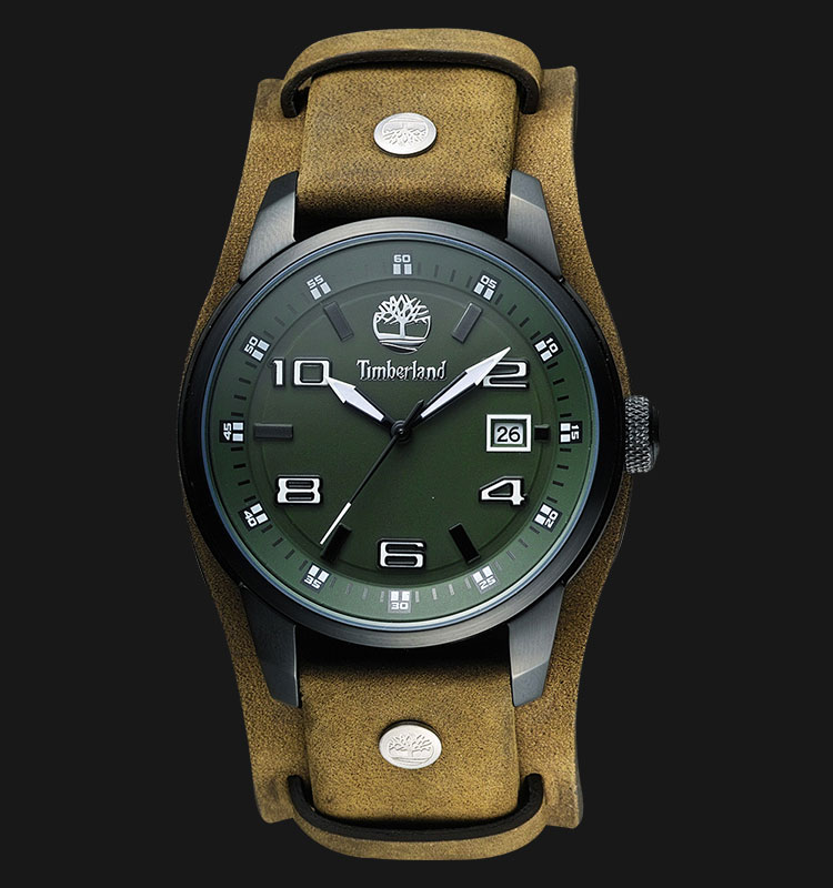 Timberland TBL.14337JSB/19A Green Dial Brown Leather Strap Machtwatch