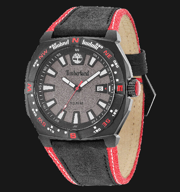 Timberland TBL.14364JSB/61 Grey Dial Black Red Leather Strap Machtwatch
