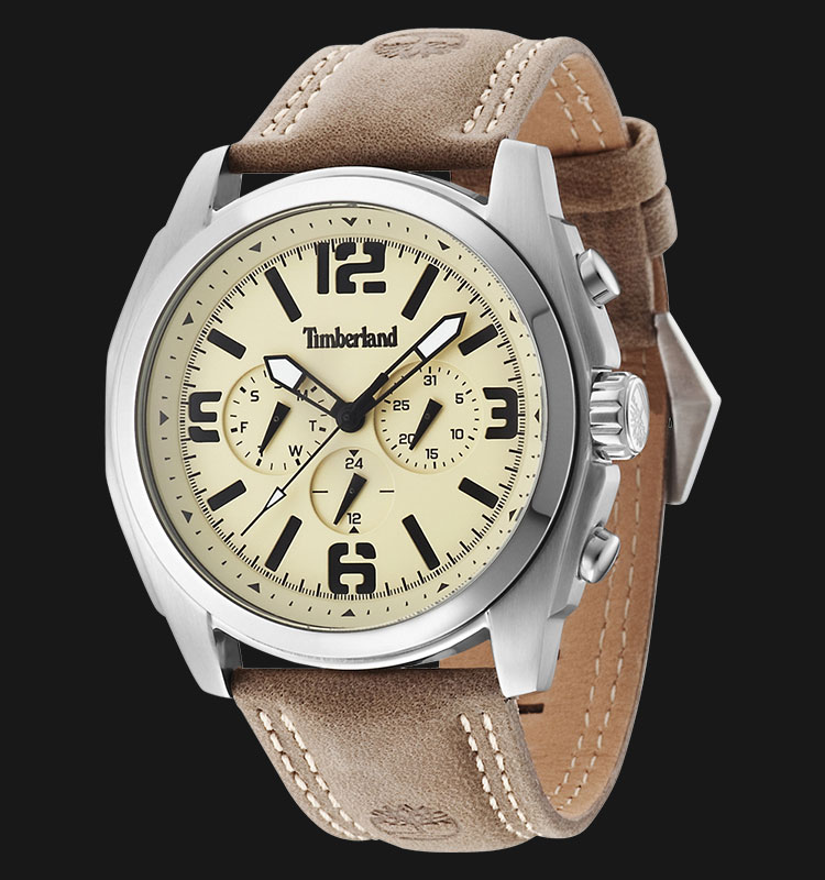 Timberland TBL.14366JS/07 Beige Dial Brown Leather Strap Machtwatch