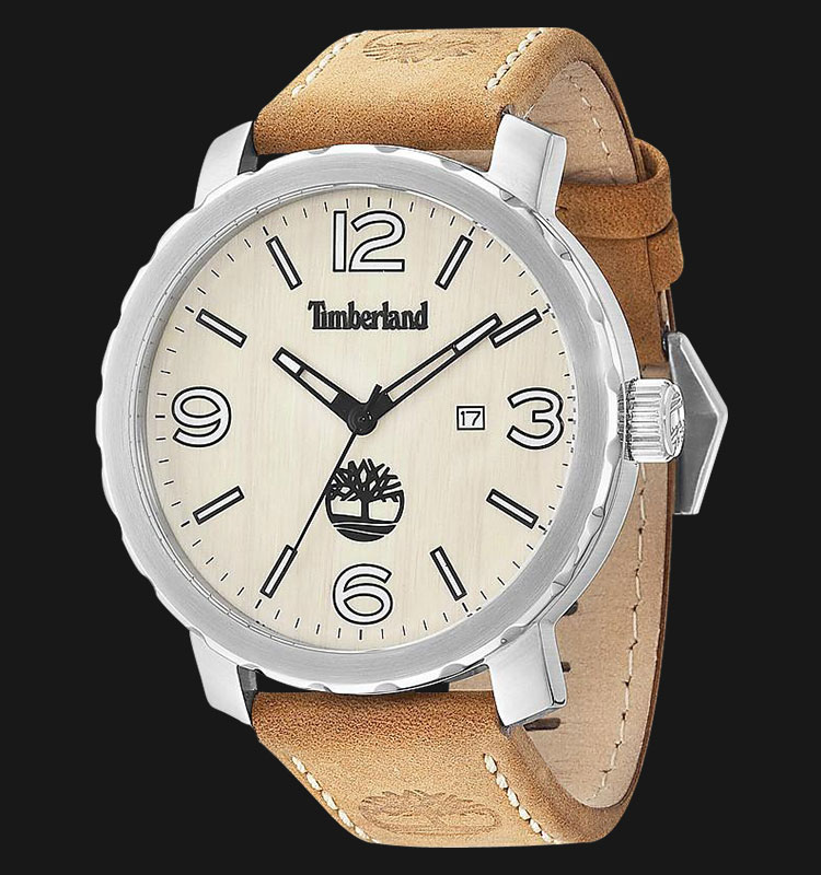 Timberland TBL.14399XS/07 Wood Beige Dial Brown Leather Strap Machtwatch