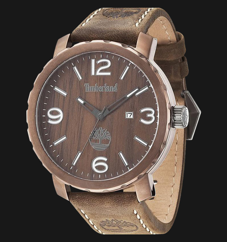 Timberland TBL.14399XSBN/12 Wood Brown Dial Brown Leather Strap Machtwatch