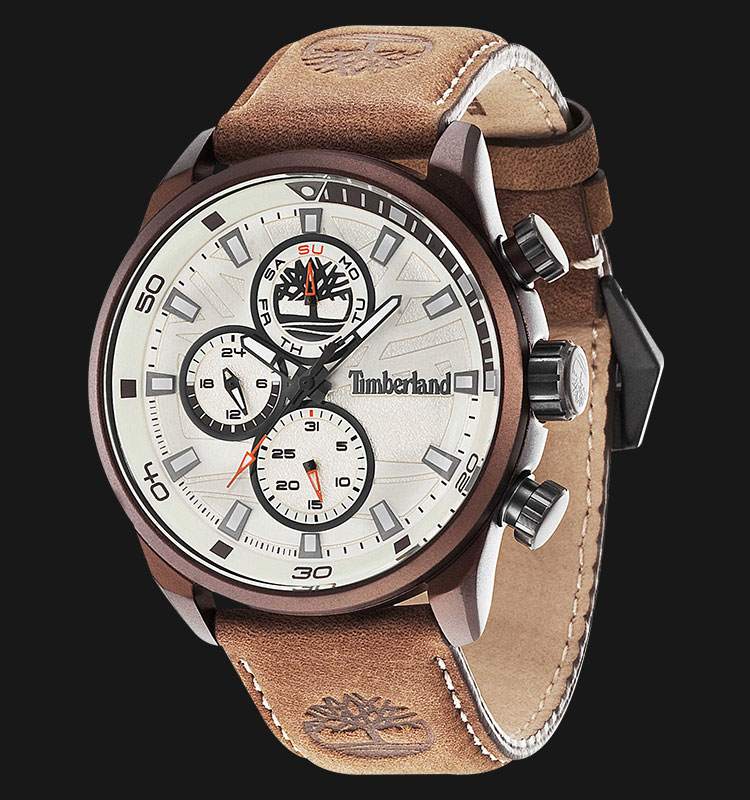 Timberland TBL.14441JLBN/07 Beige Dial Brown Leather Strap Machtwatch