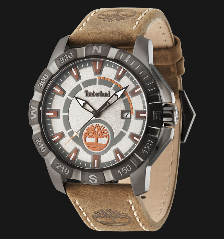 Timberland TBL.14491JSU/61 Grey Silver Dial Brown Leather Strap Machtwatch