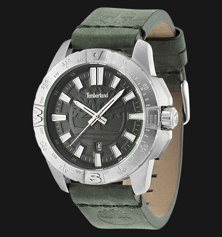 Timberland TBL.14532JS/61 Black Dial Green Leather Strap Machtwatch