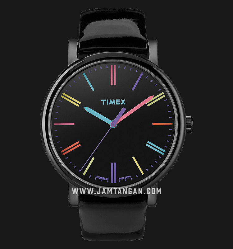 Timex T2N790 Heritage Easy Reader Ladies Black Dial Black Leather Strap Machtwatch