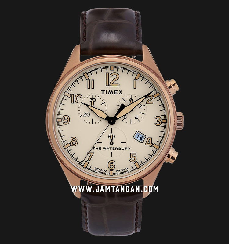 Timex TW2R88300 INDIGLO® The Waterbury Chronograph Tan Dial Brown Leather Strap Machtwatch