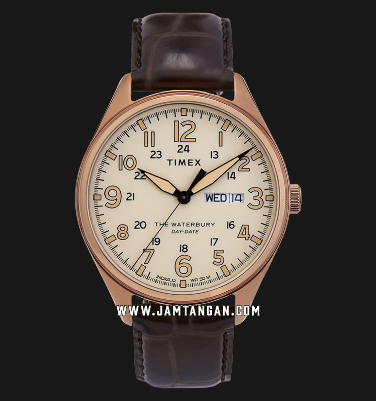 Timex TW2R89200 INDIGLO® The Waterbury Day and Date Tan Dial Brown Leather Strap Machtwatch