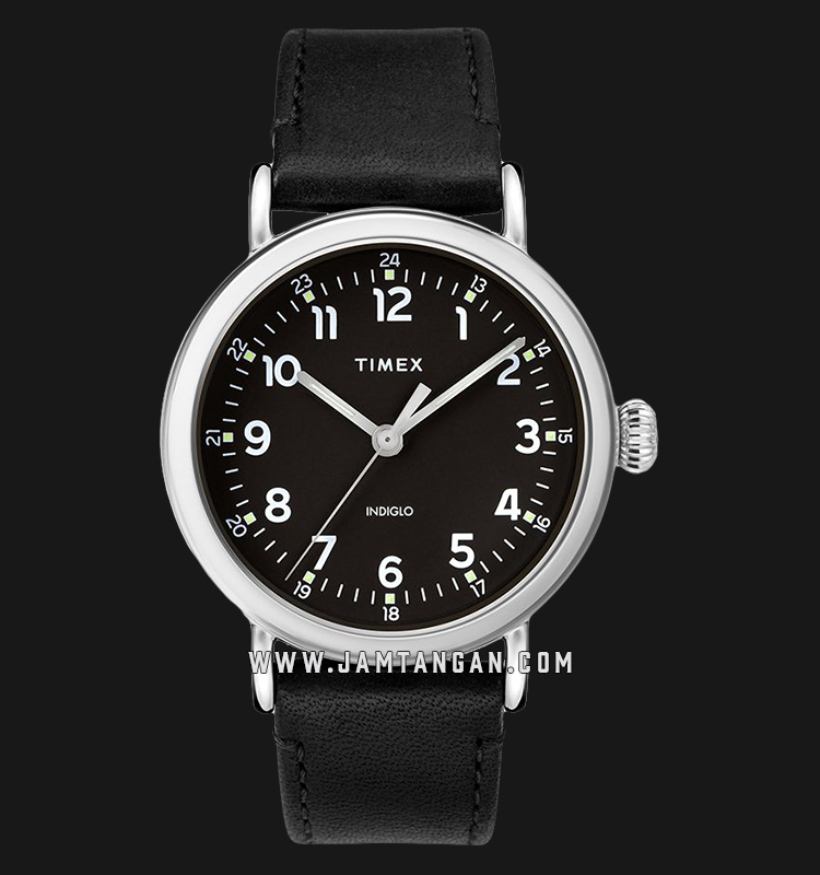 Timex TW2T20200 INDIGLO® Standard Black Dial Black Leather Strap Machtwatch