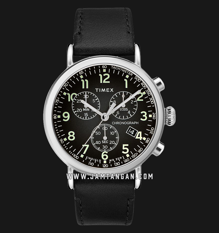 Timex TW2T21100 INDIGLO® Standard Chronograph Black Dial Black Leather Strap Machtwatch