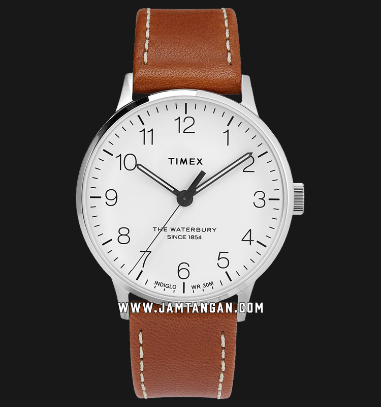 Timex TW2T27500 Waterbury Classic White Dial Brown Leather Strap Machtwatch